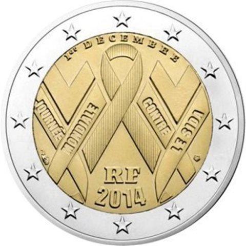 """2014. 2 Euros Francia """"Sida"""""""
