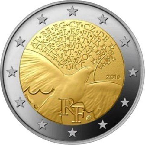 """2015. 2 Euros Francia """"70 Años Paz"""""""