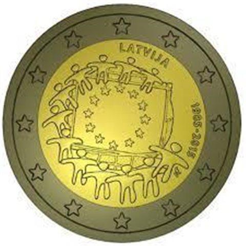 """2015. 2 Euros Letonia """"Bandera"""""""