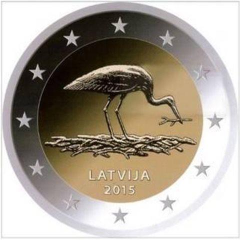 "2015. 2 Euros Letonia ""Cigüeña"""