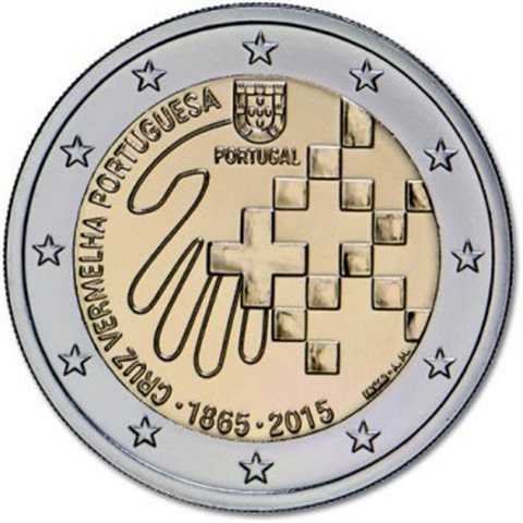 "2015. 2 Euros Portugal ""Cruz Roja"""