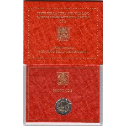 """2016. 2 Euros Vaticano """"Gendarmería"""""""