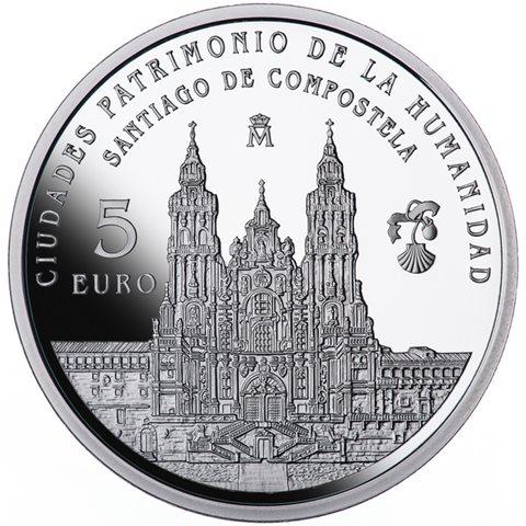 2015. Patrimonio Humanidad. Santiago Compostela. 5 euros