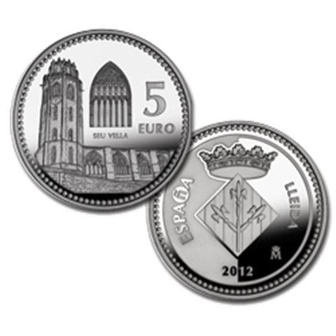 """2012. Capitales provincia. 5 euros """"Lerida"""""""